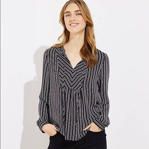 Black, White, and Red Striped Tie Neck Blouse